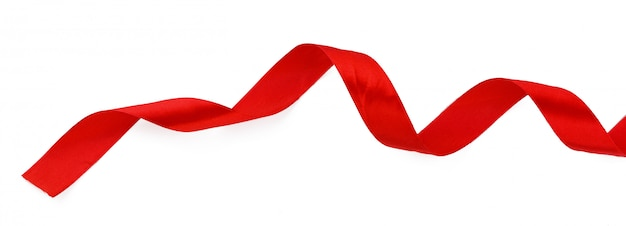 Top view close up of  red ribbon isolated on white . flat lay