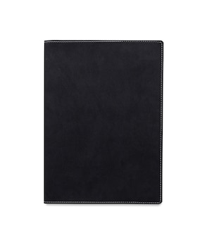Top view closed black leather notebook or diary isolated and white background with clipping path