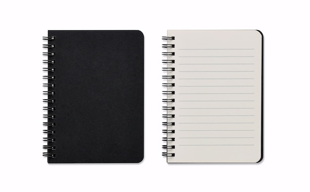 Top view closed and opened image of spiral blank notebook or black notepad isolated and white background with clipping path