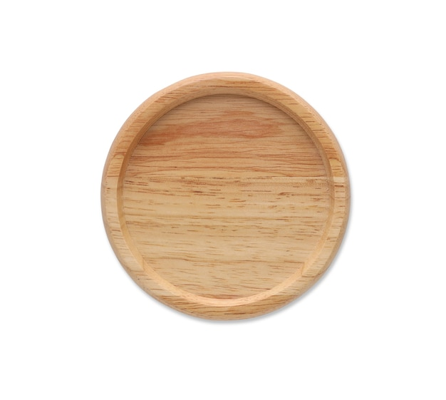 Top view closed up wooden coaster with tree texture isolated and white background with clipping path