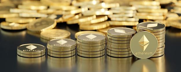 Крупным планом вид сверху ethereum и биткойн стека золотых монет черный фон. 3d визуализация иллюстрации.