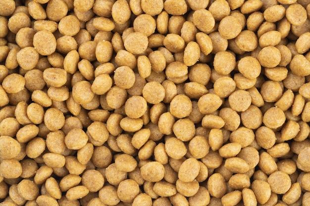 Top view, closeup of pet food pellets.