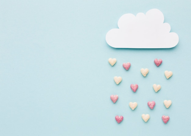Top view of cloud with valentines day hearts
