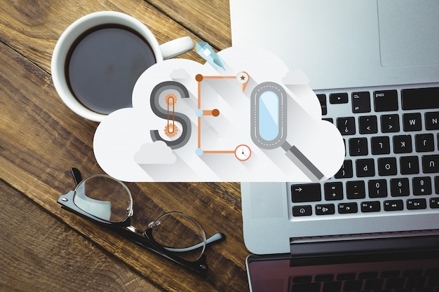 Top view of cloud with the word seo
