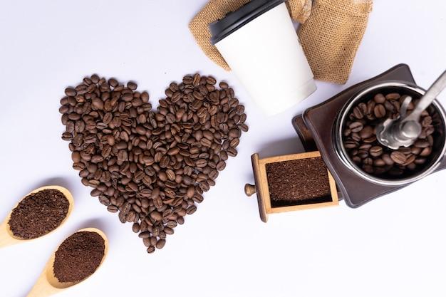 トップビューコーヒー豆、ハートビート、ハートビート