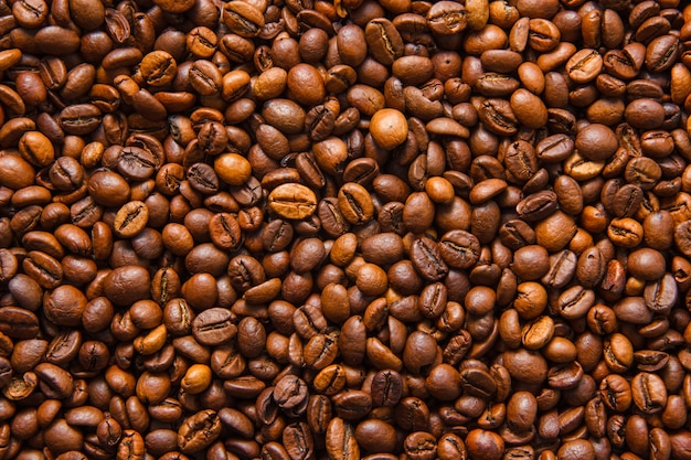 Top view coffee beans background. horizontal