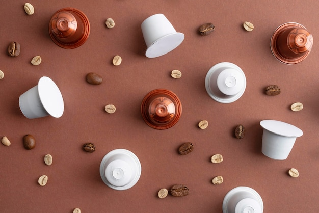 Top view coffee beans and coffee capsules