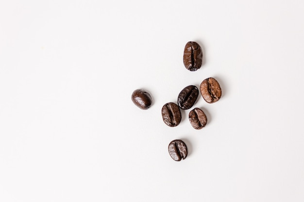 Top view coffee beans on a white background