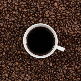Top view of coffee on beans