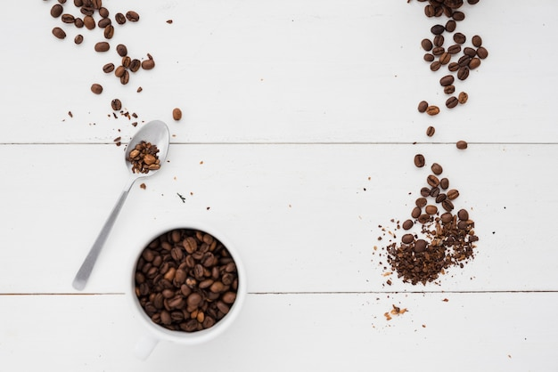 Top view coffee cup with grains