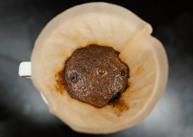 Top view of coffee in filter
