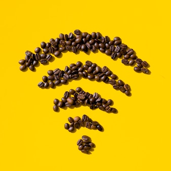 Top view coffee grains form