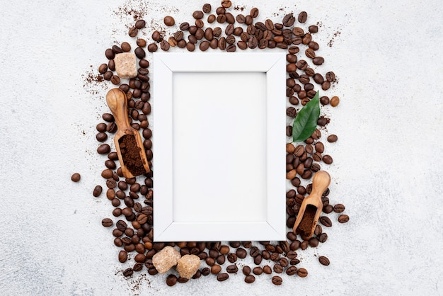Top view of coffee with copy space