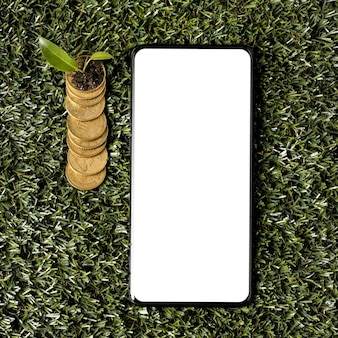 Top view of coins on grass with smartphone and plant