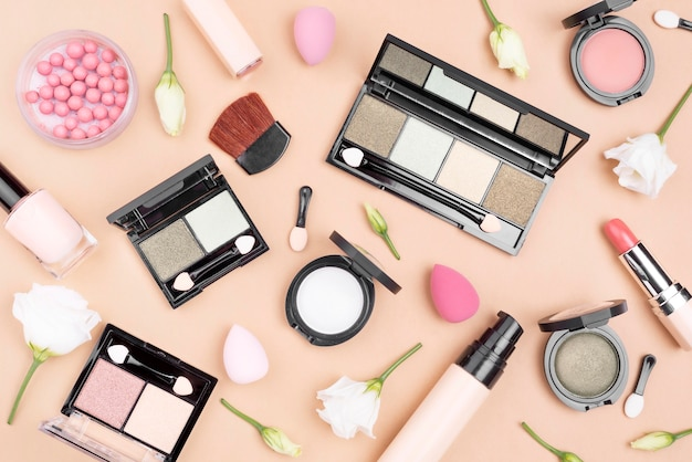 Top view collection of beauty products