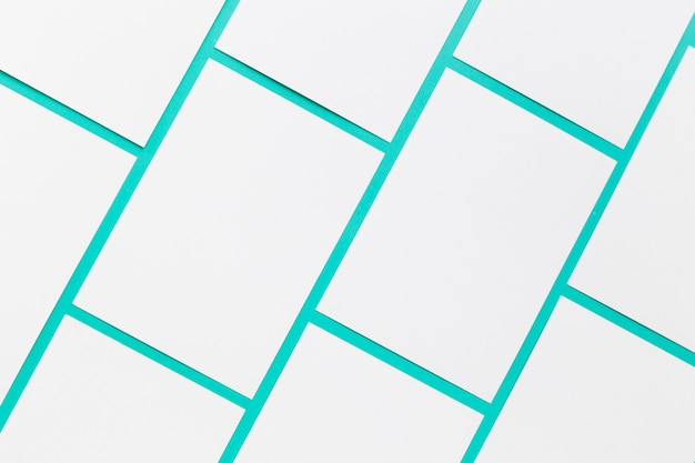 Top view collection of blank business cards