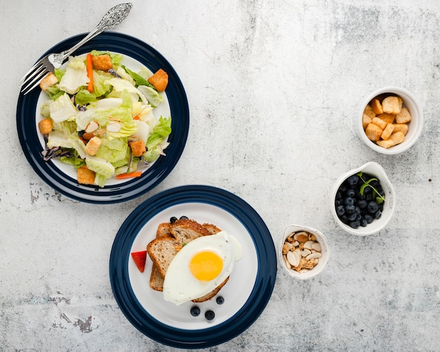 Top view collection of breakfast menu with copyspace