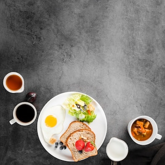 Top view collection of breakfast menu