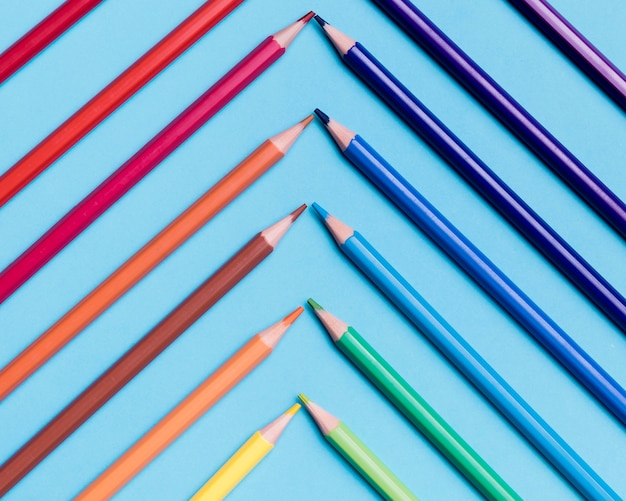 Top view collection of colourful pencils