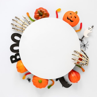 Top view collection of halloween elements