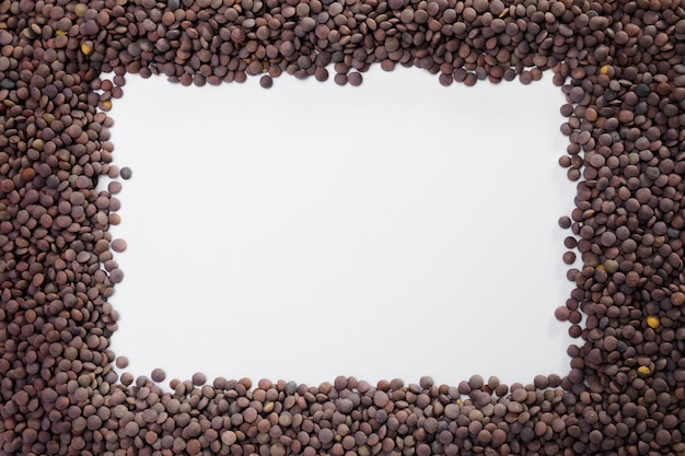 Top view collection of lentils with copy space