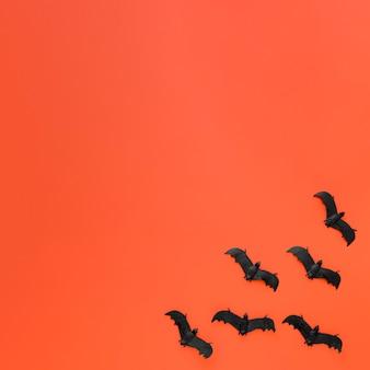 Вид сверху коллекция летучих мышей хэллоуин с копией пространства