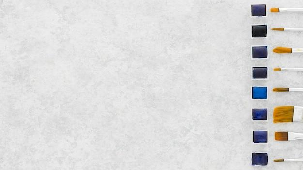 복사 공간 페인트 브러쉬의 상위 뷰 모음