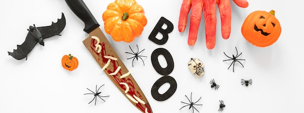 Top view collection of spooky halloween elements