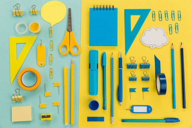 Top view collection of stationery supplies on the table