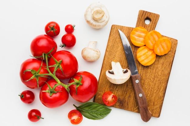 Вид сверху красочная композиция из овощей