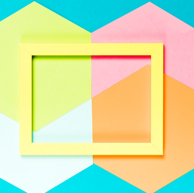 Top view colorful decorative frame