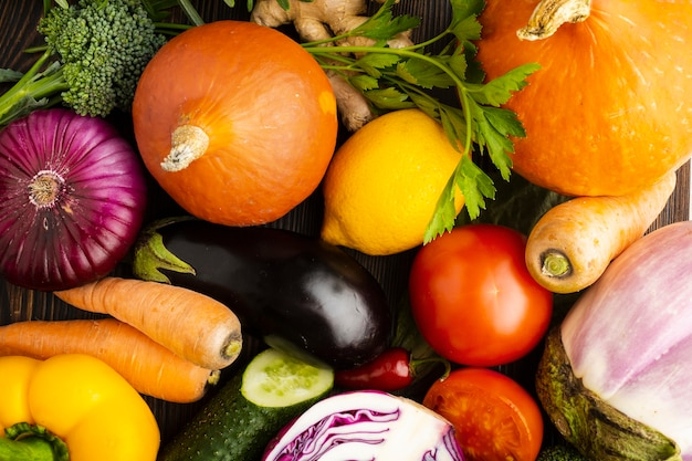 Top view colorful delicious vegetables arrangement