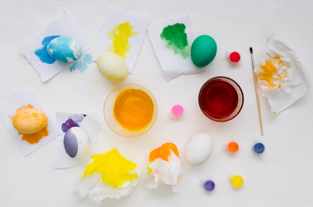 Top view of colorful eggs for easter