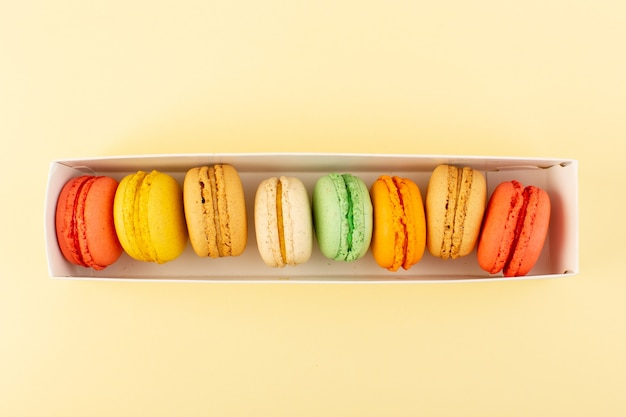 A top view colorful french macarons bake