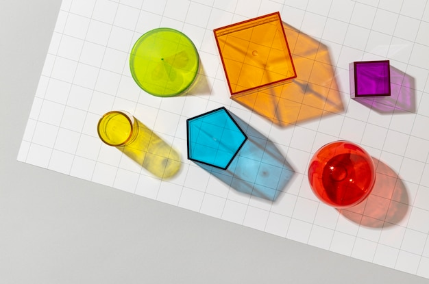 Top view of colorful geometric forms