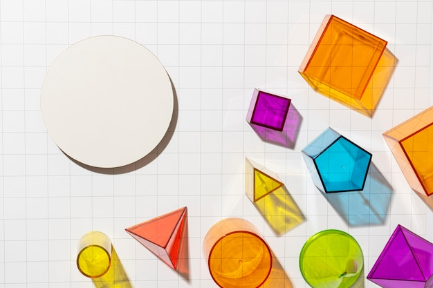 Top view of colorful geometric shapes
