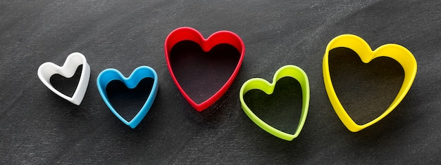 Top view of colorful heart shapes