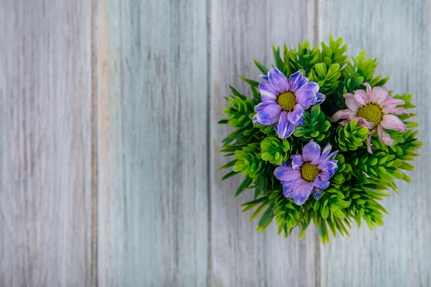 Top view of colorful lovely daisy flowers on a gray wooden background with copy space