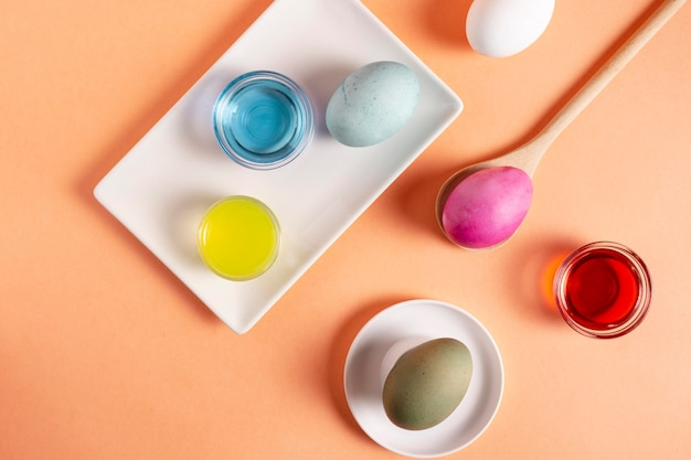 Top view of colorful painted easter eggs with dye