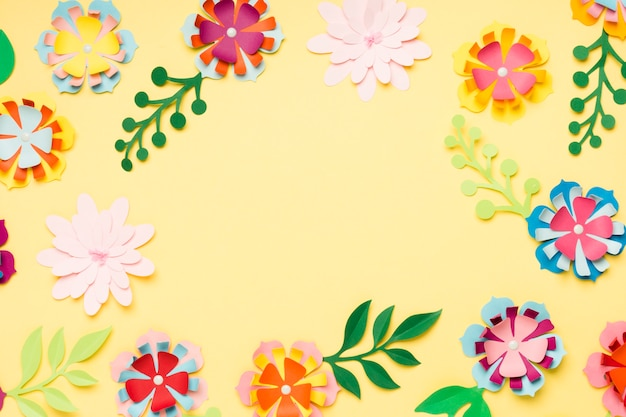 Top view of colorful paper flowers for spring