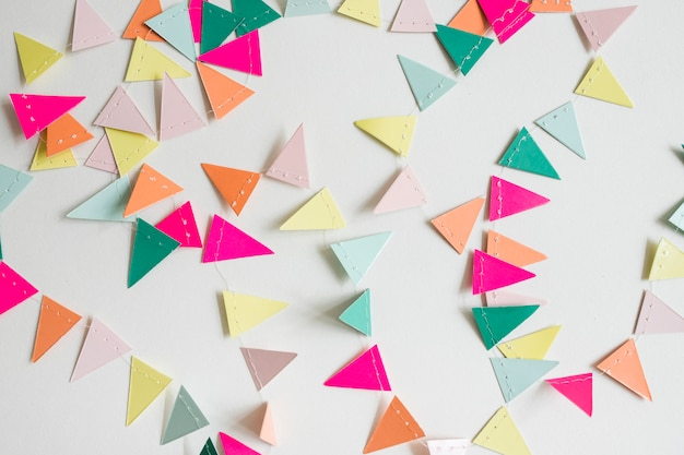 Top view colorful paper garland