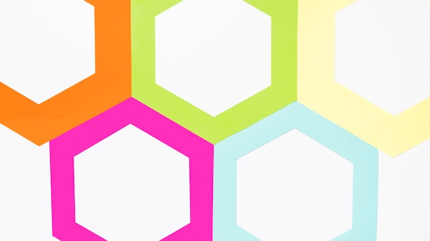 Top view colorful paper hexagon
