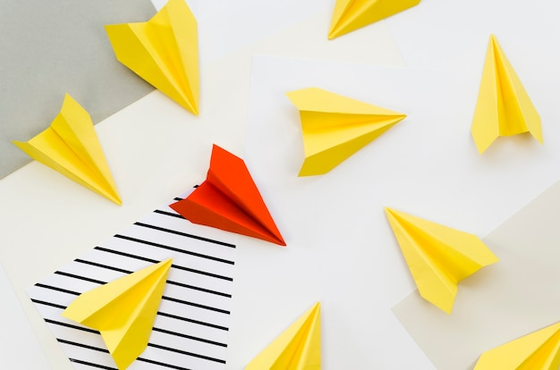 Top view of colorful paper planes