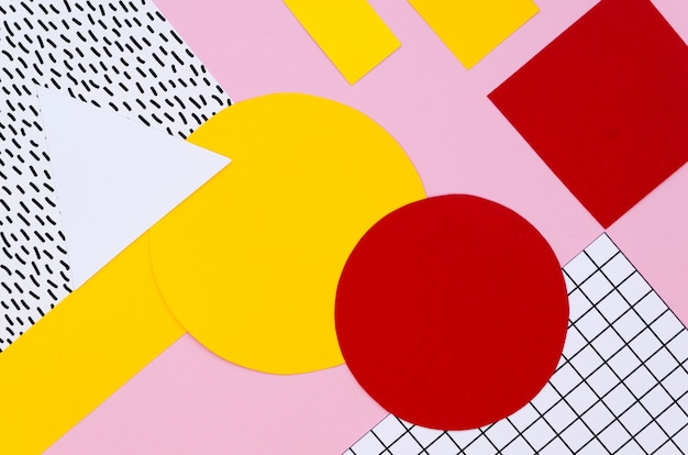 Top view of colorful paper shapes