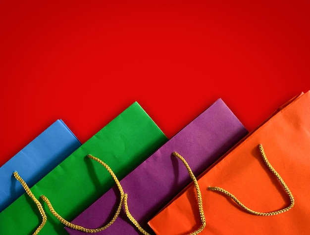 Top view of colorful paper shopping bag
