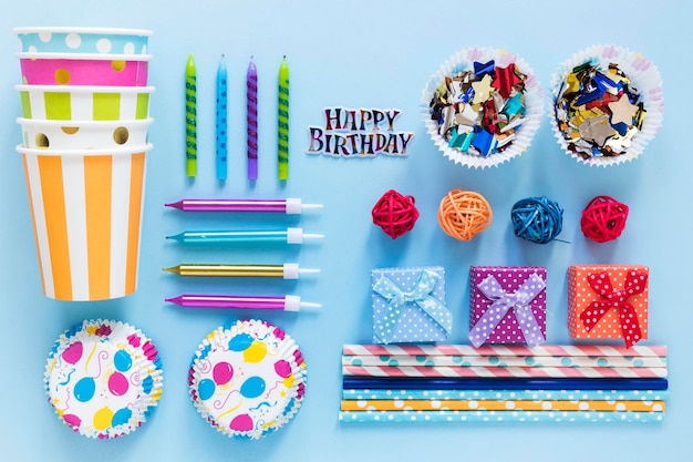 Top view colorful party items