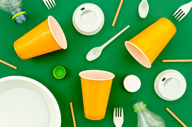 Top view colorful plastic disposable tableware