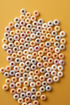 Top view of colorful round candy