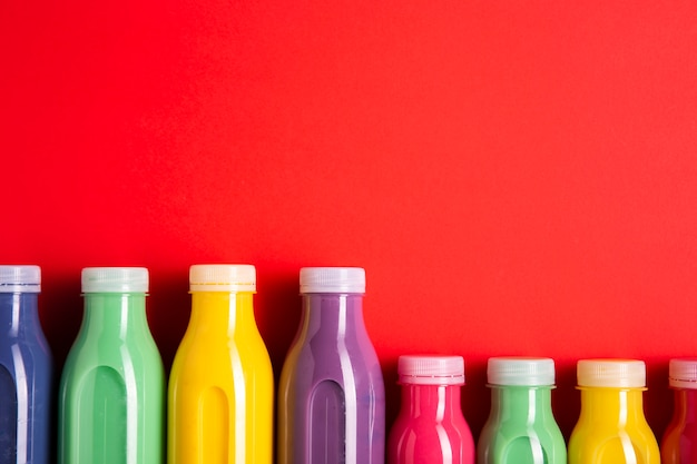 Top view colorful smoothies with copy space