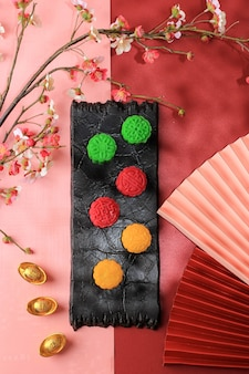 Top view colorful snowskin moon cake. new variation of mooncake, mochi dough filled custard, red bean or mung bean paste. moulded in mooncake mould.